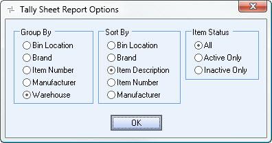INV: Inventory Tally Sheet