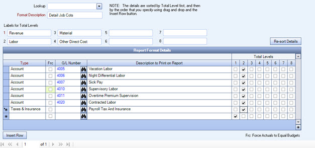 JOB: Formatting the Job Costing Report to Include Payroll Taxes and
