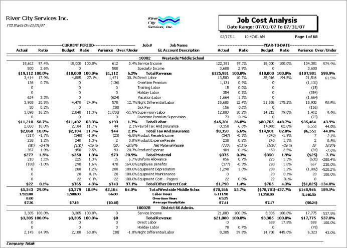 JOB: Job Cost Analysis Report